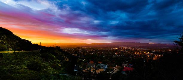 san fernando valley sunset - san fernando valley stock photos and pictures