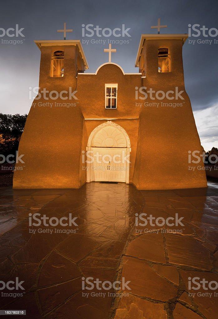 San Fracisco de Asis Mission Illuminated stock photo