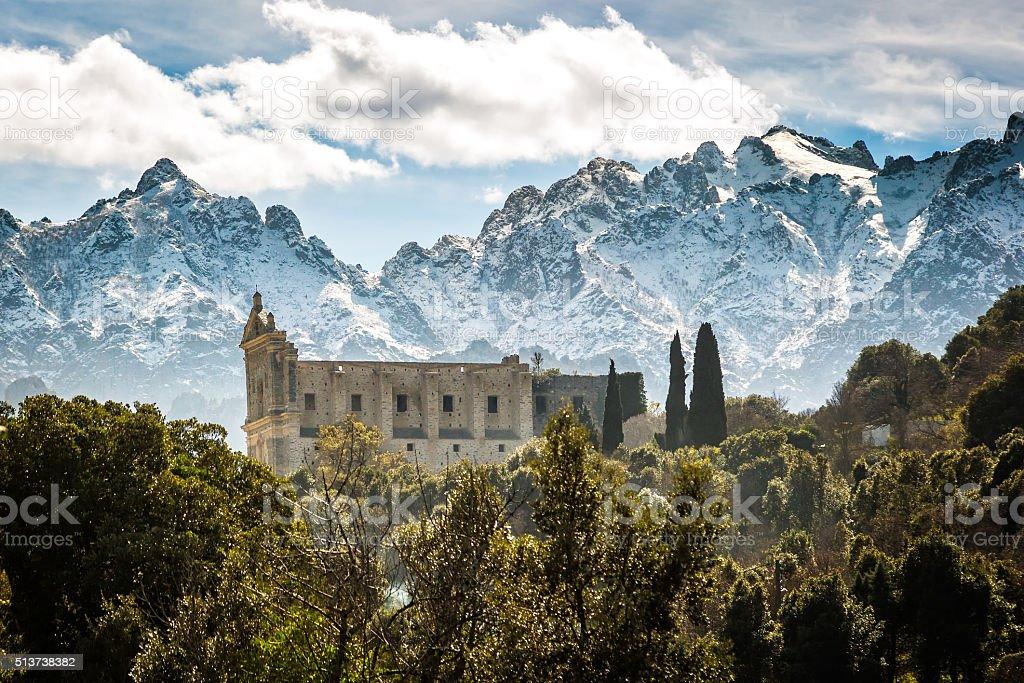 San Francesco convent and mountains at Castifao in Corsica stock photo