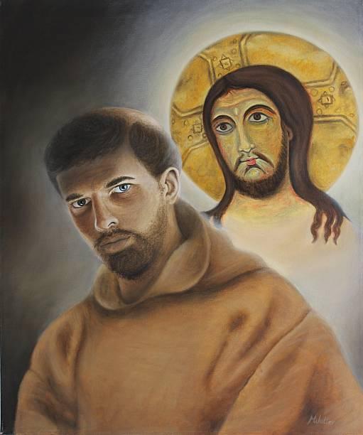 San Francesco oil on canvas, Monika Walter friar stock pictures, royalty-free photos & images