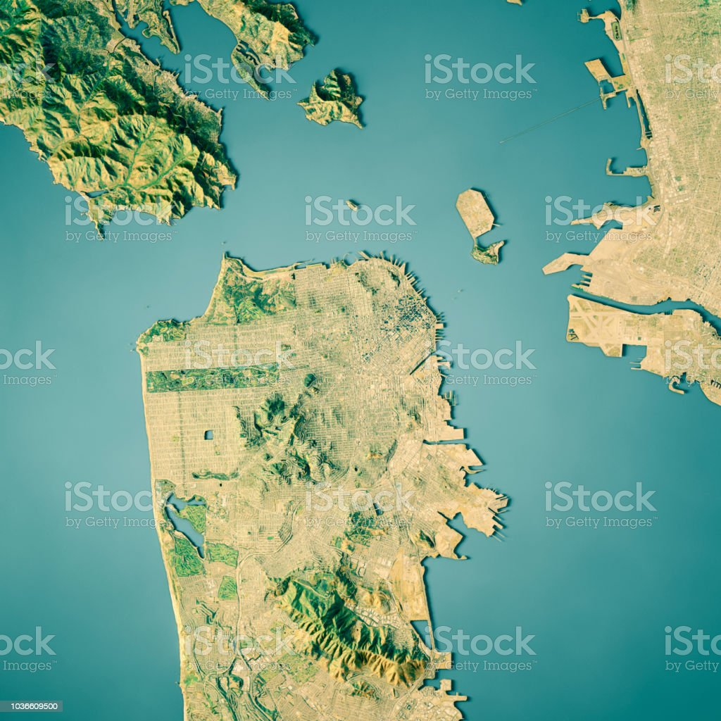 Pacific Ocean Topographic Map.San Francisco 3d Render Topographic Map Color Stock Photo More