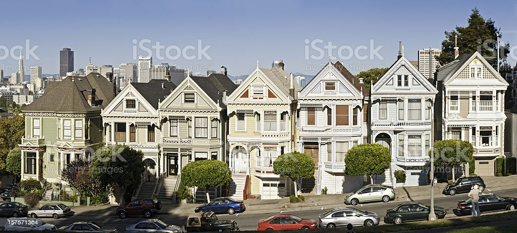 San Francisco Alamy Row Victorian villas iconic homes panorama California royalty-free stock photo