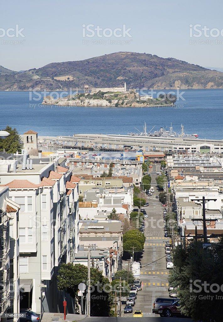 San Francisco: Alcatraz Island and Taylor Street royalty-free stock photo