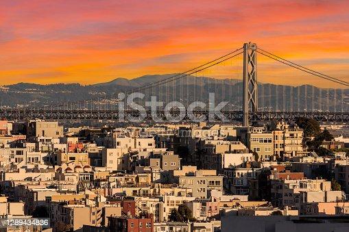 istock San Francisco and Bay Bridge Sunset 1289434836