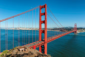 Golden Gate bridge and San Francisco downtown, at sunset, California.