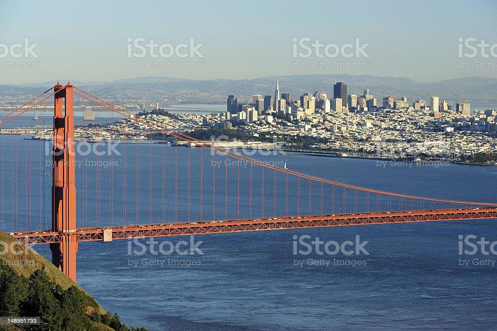 San Francisco and Golden Gate Bridge royalty-free stock photo