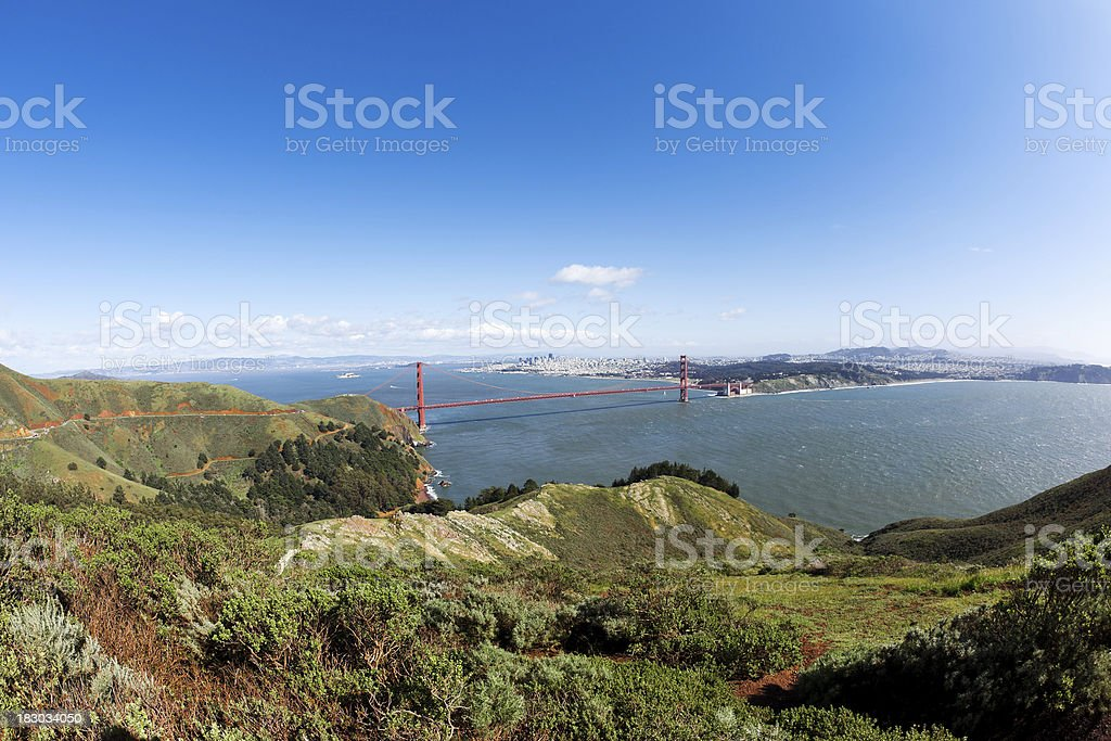San Francisco and Golden Gate Bridge Scenics View royalty-free stock photo