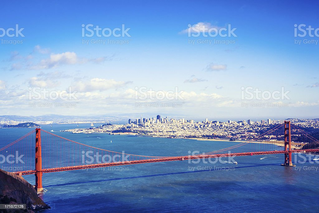 San Francisco and The Golden Gate Bridge royalty-free stock photo