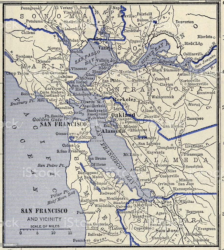 San Francisco Antique Map. stock photo