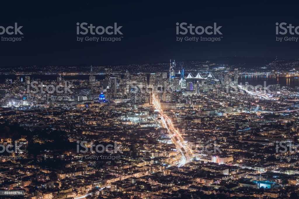 san francisco at night time stock photo