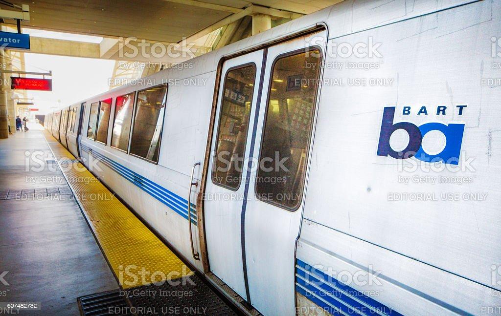 San Francisco bart train at San Jose station stock photo