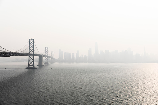 Aerial stock photos of the San Francisco Bay Area with unhealthy smoke filled skies from many wildfires across the state.