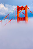 The Golden Gate Bridge in San Francisco California in late afternoon fog