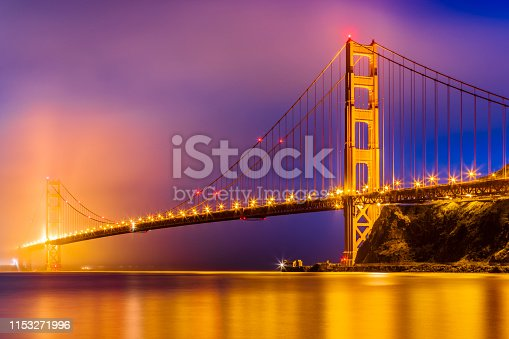 The Golden Gate Bridge and Lime Point in San Francisco California at dusk in fog