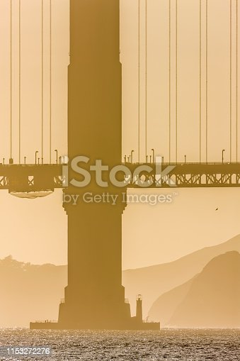 The Golden Gate Bridge in San Francisco California in late afternoon golden light seen from the Embarcadero