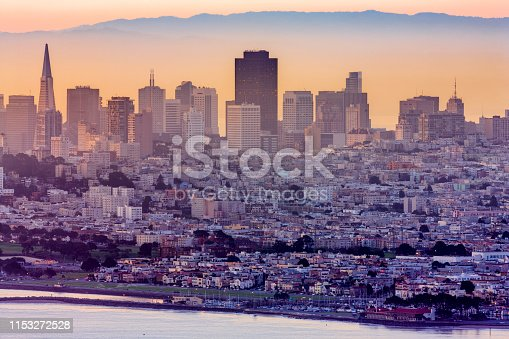 San Francisco city skyline seen from the Marin Headlands in California at sunset