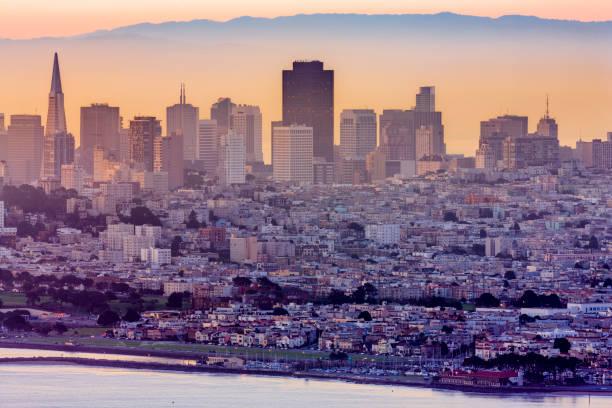 San Francisco Bay area in California San Francisco city skyline seen from the Marin Headlands in California at sunset san francisco bay stock pictures, royalty-free photos & images