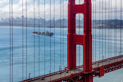 The Golden Gate Bridge and Bay area in San Francisco California