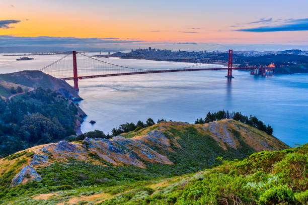 San Francisco Bay area in California The Golden Gate Bridge and Bay area in San Francisco California at sunrise san francisco bay stock pictures, royalty-free photos & images