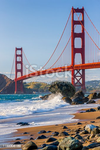The Golden Gate Bridge in San Francisco California seen from Baker Beach