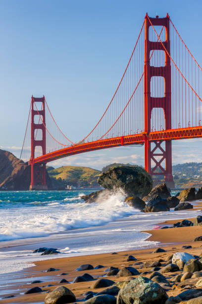 San Francisco Bay area in California The Golden Gate Bridge in San Francisco California seen from Baker Beach golden gate bridge stock pictures, royalty-free photos & images