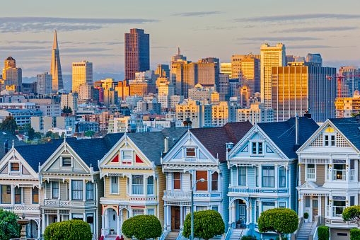 The painted ladies houses in San Francisco California at sunset