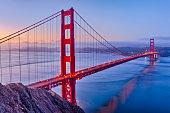 The Golden Gate Bridge and Bay area in San Francisco California at sunrise