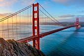 The Golden Gate Bridge and Bay area in San Francisco California at sunrise