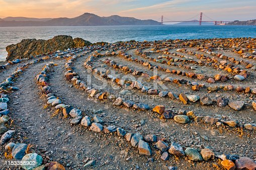 The Golden Gate Bridge in San Francisco California seen from the Lands End Labyrinth