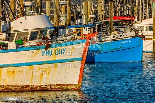 San Francisco Bay area in California on May 06, 2009: Fishing boats docked at the San Francisco fisherman's Wharf area in California