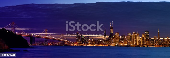 Skyline of Bay Area in San Francisco, California. Panorama of Bay Bridge and big city after sunset.