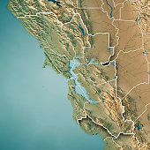 San Francisco Bay Area Usa 3d Render Topographic Map Blue Border ...