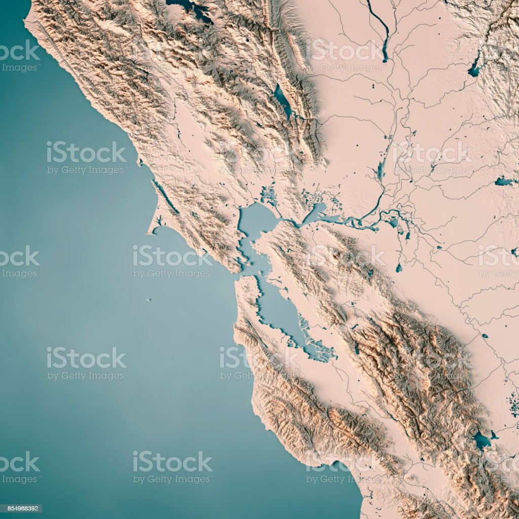 San Francisco Bay Area Usa 3d Render Topographic Map Neutral Stock ...