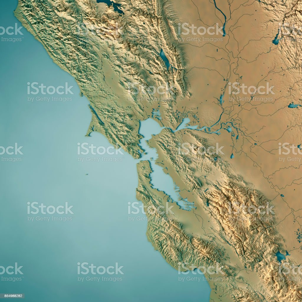 San Francisco Bay Area USA 3D Render Topographic Map stock photo