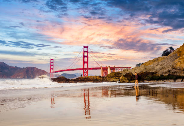 San Francisco Bay at sunset Beach near the golden gate bridge san francisco bay stock pictures, royalty-free photos & images
