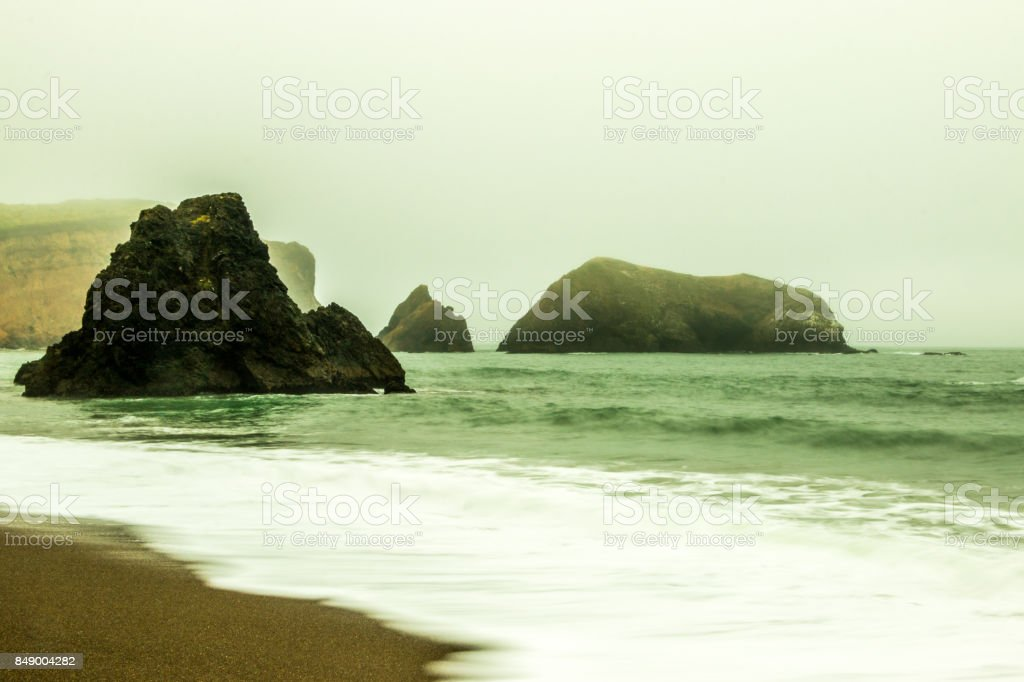 San Francisco Bay Beach  under fog stock photo