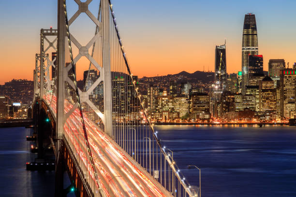 San Francisco Bay Bridge and Skyline at dusk stock photo