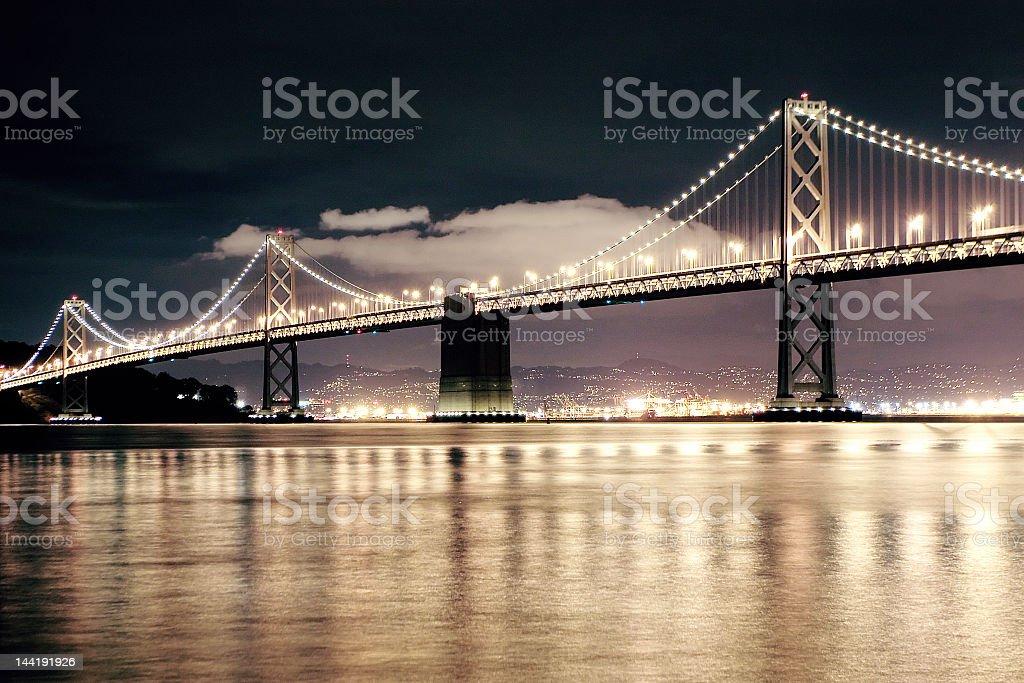 San Francisco Bay Bridge at night royalty-free stock photo