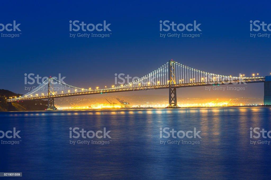 San Francisco Bay Bridge at sunset from Pier 7 California stock photo