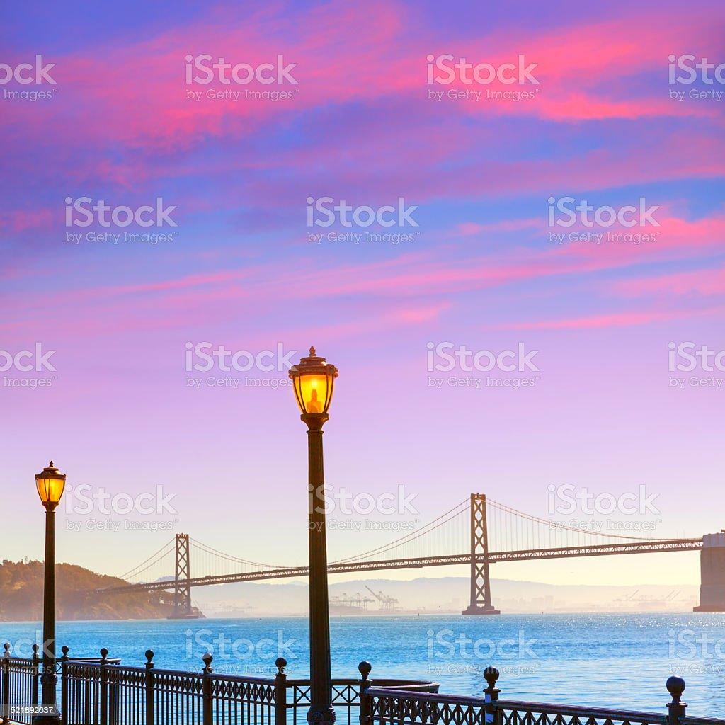 San Francisco Bay bridge from pier 7 California stock photo