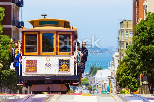 San Francisco, United States - May 19, 2016: Approaching iconic cable car is full of outside hanging and platform standing tourists with bay water background in sunny Powell Street in California. Horizontal