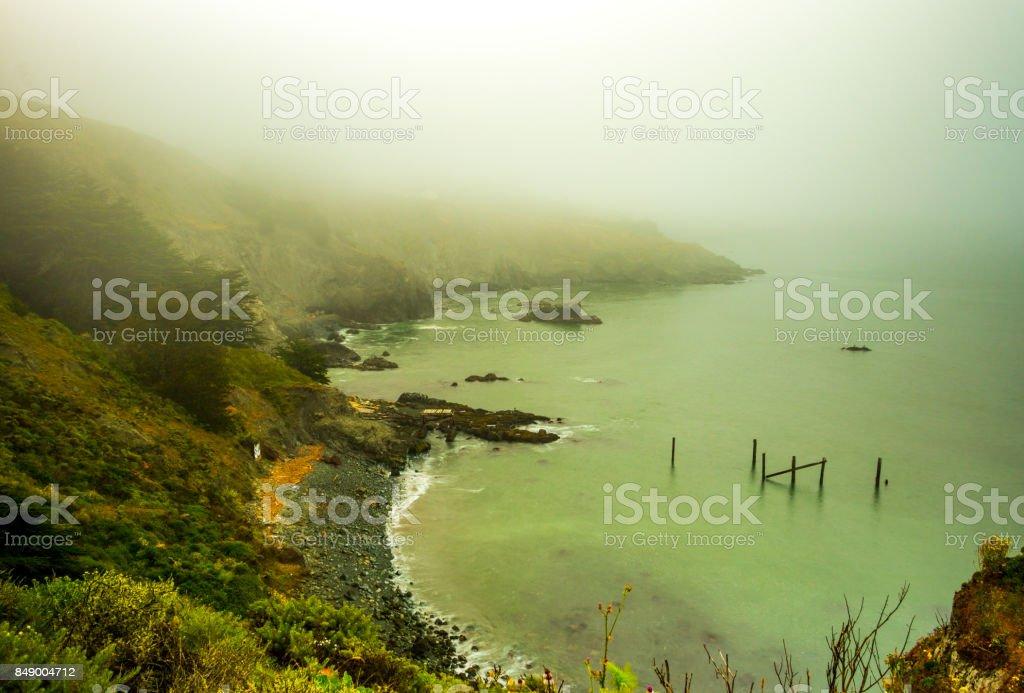 San Francisco Bay hill  under fog stock photo