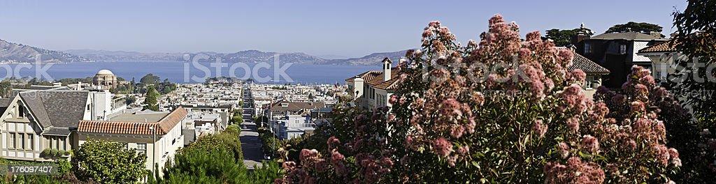 San Francisco bay Pacific Heights Marina district panorama California stock photo