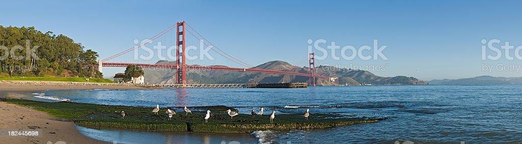 San Francisco Bay Presidio beach Golden Gate Bridge Marin Headlands stock photo