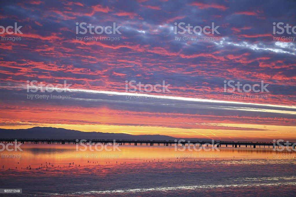 San Francisco Bay Sunrise Over California royalty-free stock photo