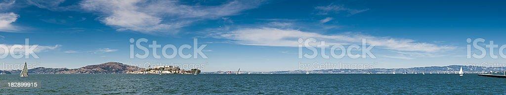 San Francisco Bay super panorama yachts Alctatraz Pacific Ocean California stock photo