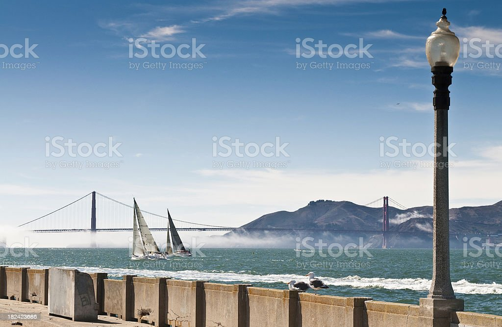 San Francisco Bay yachts sailing Golden Gate Bridge Marin Headlands stock photo