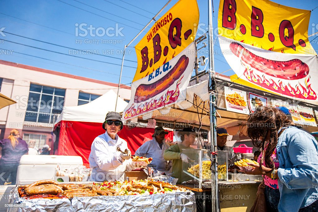 San Francisco B.B.Q, cooked outdoors during Carnaval Festival stock photo