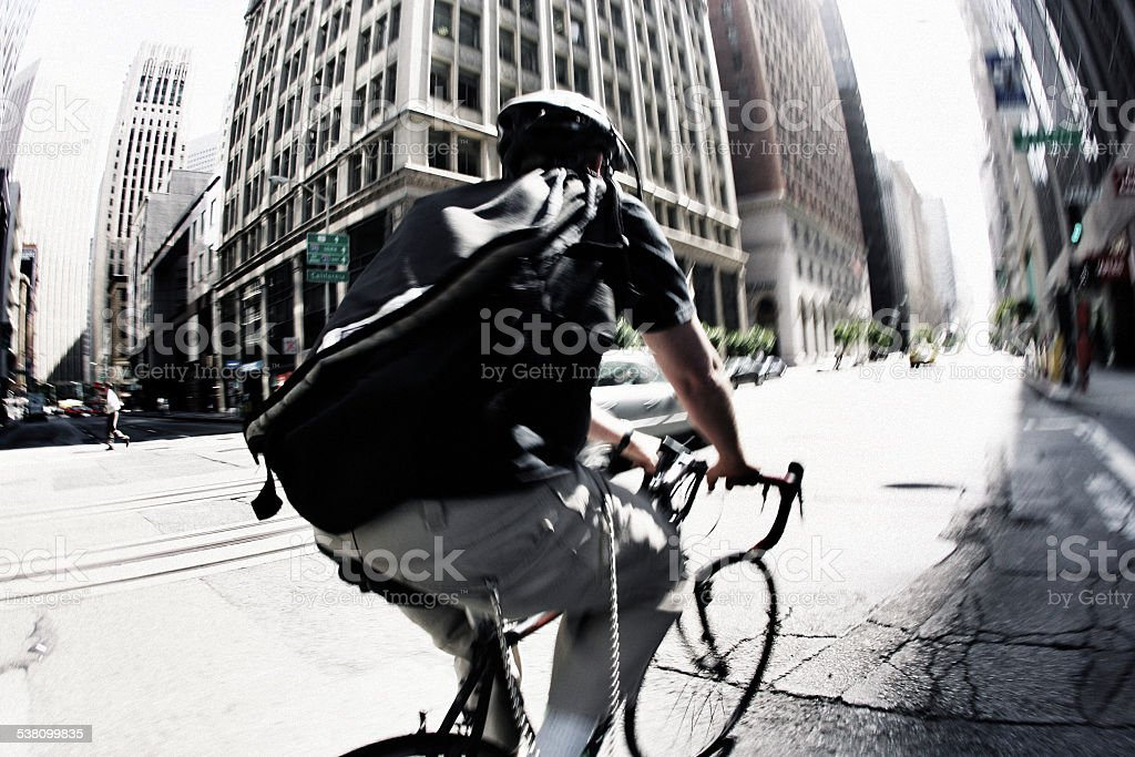 San Francisco Bike Messenger stock photo