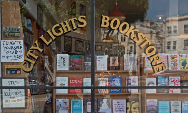 San Francisco, CA / USA: City Lights Bookstore showcase at Columbus Ave. stock photo